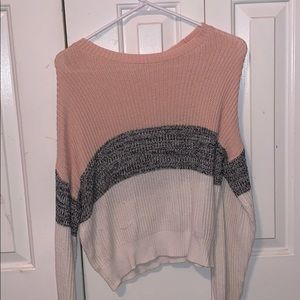 $15 XS pink/black/white knitted sweater
